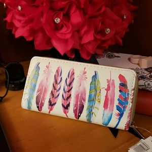 Handbags - Colorful Feather Faux Leather Long Wallet